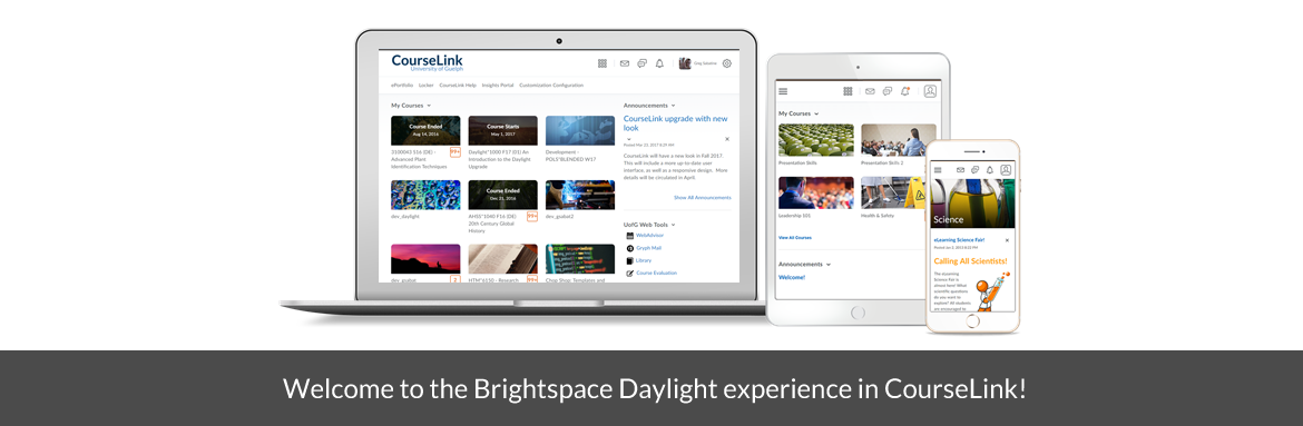 A laptop, tablet and phone showing the daylight experience.